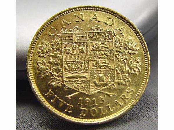 689: 1913 CANADA 5 DOLLAR GOLD $5 5d COIN - 2