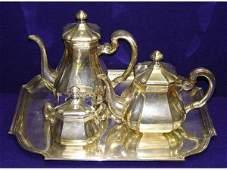 1161: Jakob Grimminger German Silver Tea Set Servi