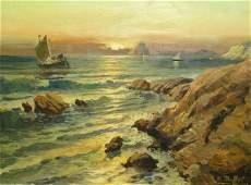 1164: 20c Hawaii Beach Sunset landscape Oil Painting