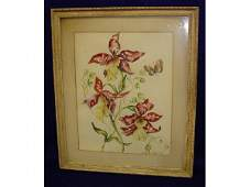 1205 Audry Lambert 1949 Floral Watercolor Painting