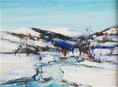 WALTER EMERSON BAUM SNOW ON HILLS WINTER OIL PAINTING