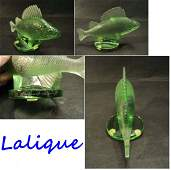 LALIQUE GREEN FROSTED CRYSTAL PERCHE FISH HOOD ORNAMENT