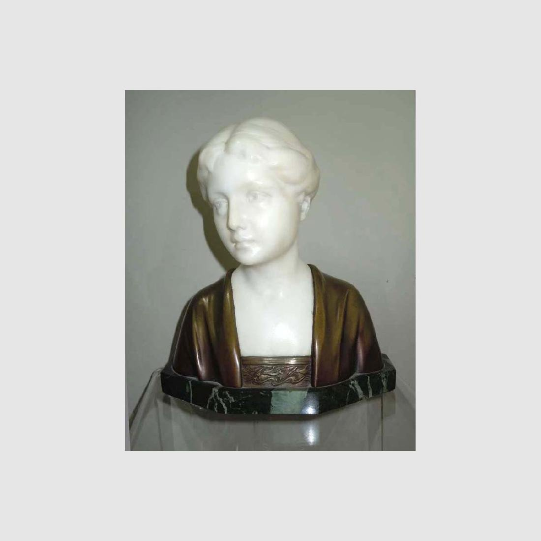 ART NOUVEAU MARBLE BRONZE BUST YOUNG WOMAN by