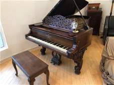 """1871 STEINWAY VICTORIAN GRAND PIANO 7' 2"""" ROSEWOOD CASE"""