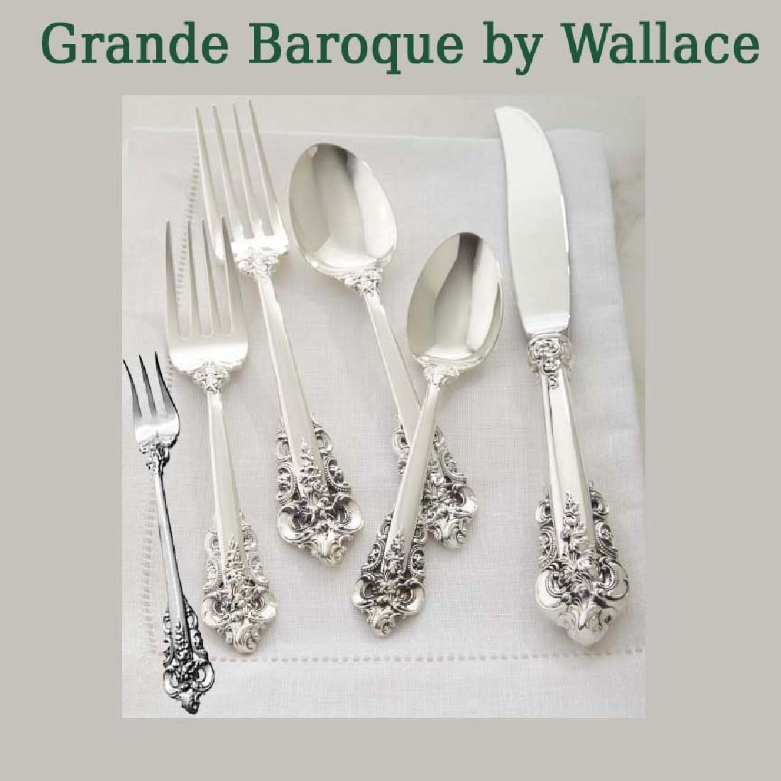 WALLACE GRANDE BAROQUE STERLING SILVER FLATWARE 98 Pcs.