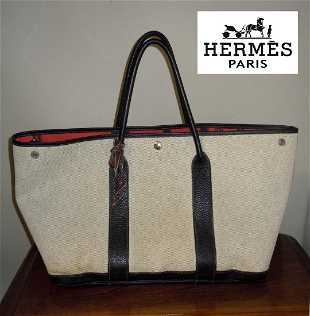 HERMES BEIGE CANVAS BLACK LEATHER GARDEN PARTY TOTE BAG 254ca50349bf8