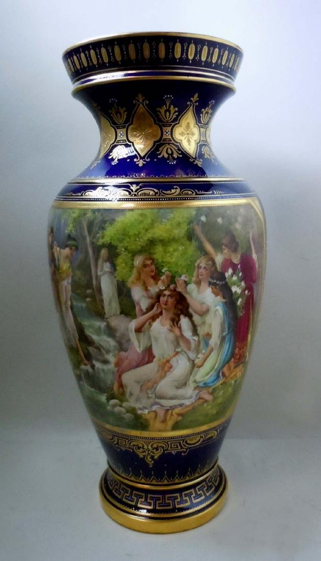 MONUMENTAL ROYAL VIENNA STYLE PORCELAIN VASE YOUNG GIRL
