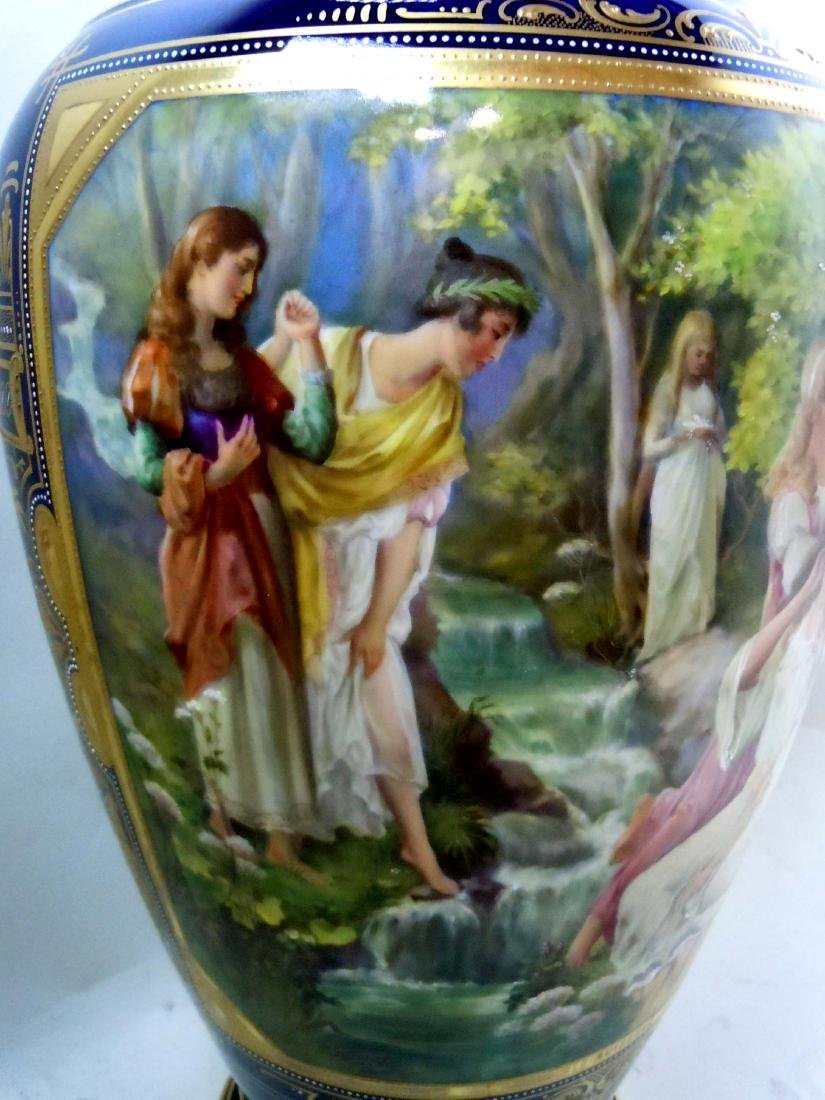 MONUMENTAL ROYAL VIENNA STYLE PORCELAIN VASE YOUNG GIRL - 3