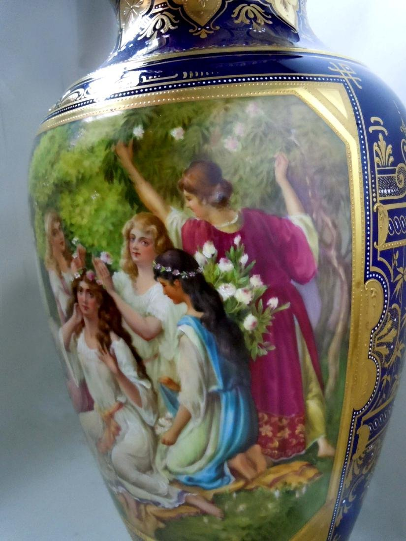 MONUMENTAL ROYAL VIENNA STYLE PORCELAIN VASE YOUNG GIRL - 5
