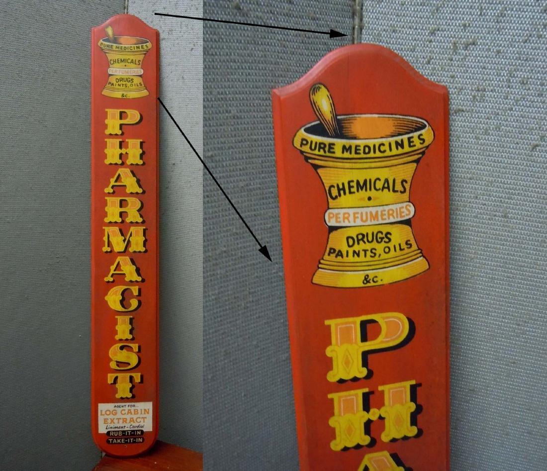 PAINTED WOOD PHARMACIST ADVERTISING SIGN PHARMACY