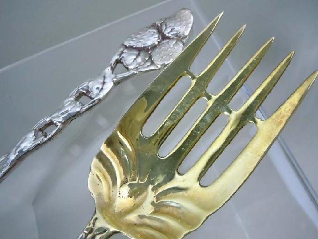 GOLD WASH STERLING SILVER STRAWBERRY SERVING SPOON FORK - 3