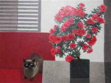 VINCENTE VIUDES OIL PAINTING AZALEAS By WINDOW w CAT