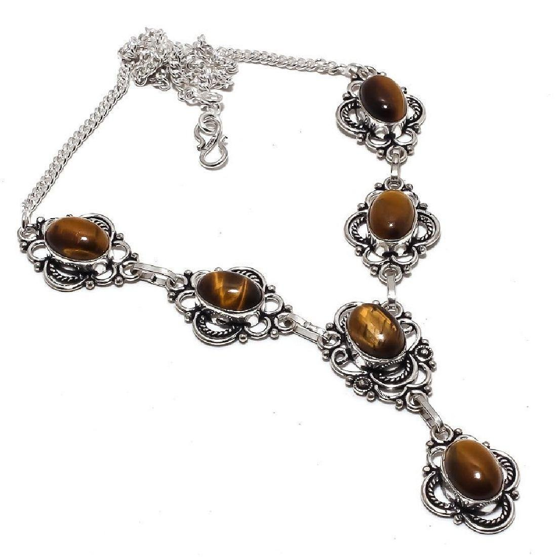 STERLING SILVER TIGER EYE CABOCHON NECKLACE 29 Gr 18 In