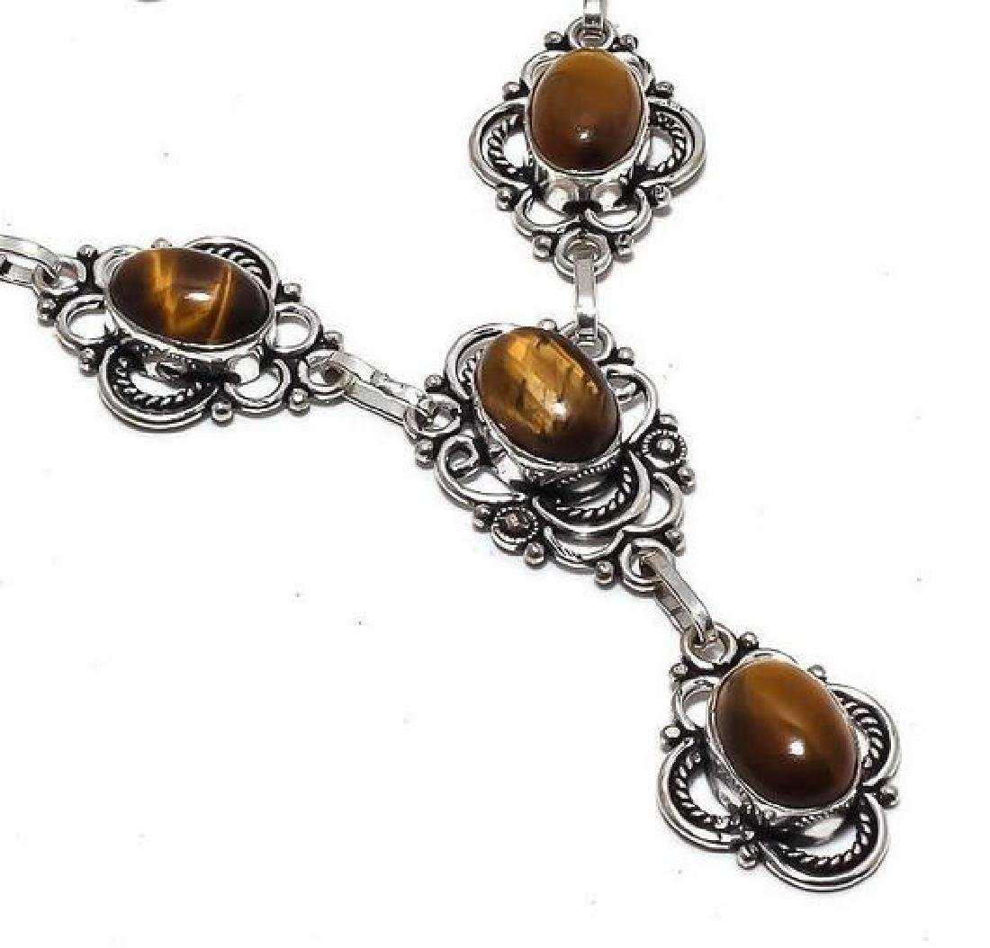 STERLING SILVER TIGER EYE CABOCHON NECKLACE 29 Gr 18 In - 2