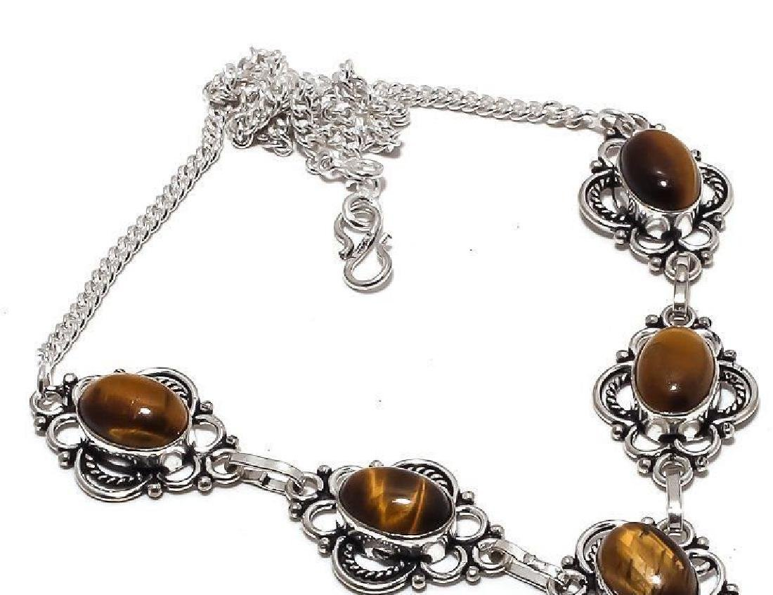 STERLING SILVER TIGER EYE CABOCHON NECKLACE 29 Gr 18 In - 3