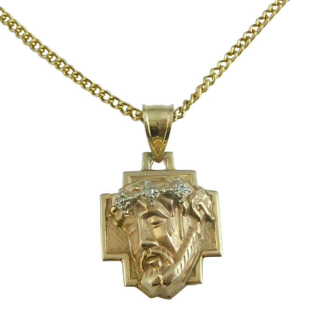 14Kt GOLD DIAMOND 3D JESUS CHRIST HEAD CHARM PENDANT A