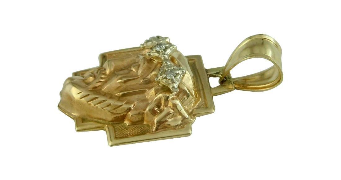 14Kt GOLD DIAMOND 3D JESUS CHRIST HEAD CHARM PENDANT A - 2