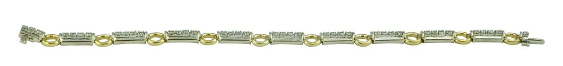 2 TONE 14Kt GOLD 2Ct DIAMOND BAR & CIRCLE LINK BRACELET - 4