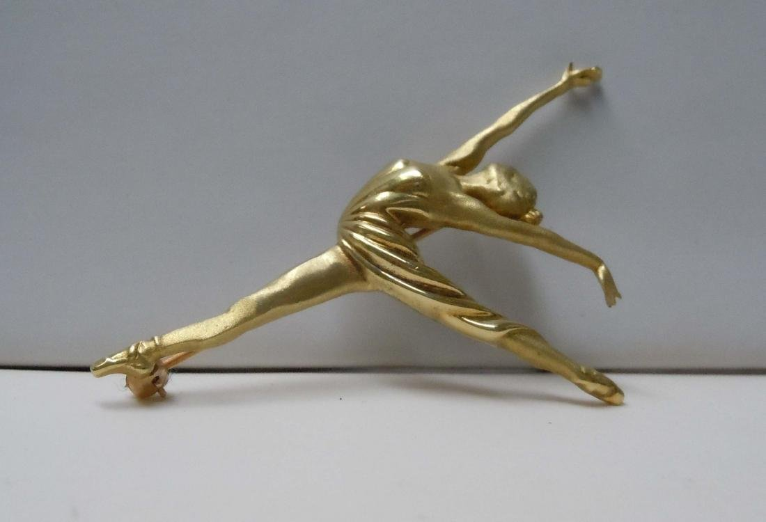 18KT GOLD BALLERINA DANCER BROOCH SATIN POLISHED FINISH - 2