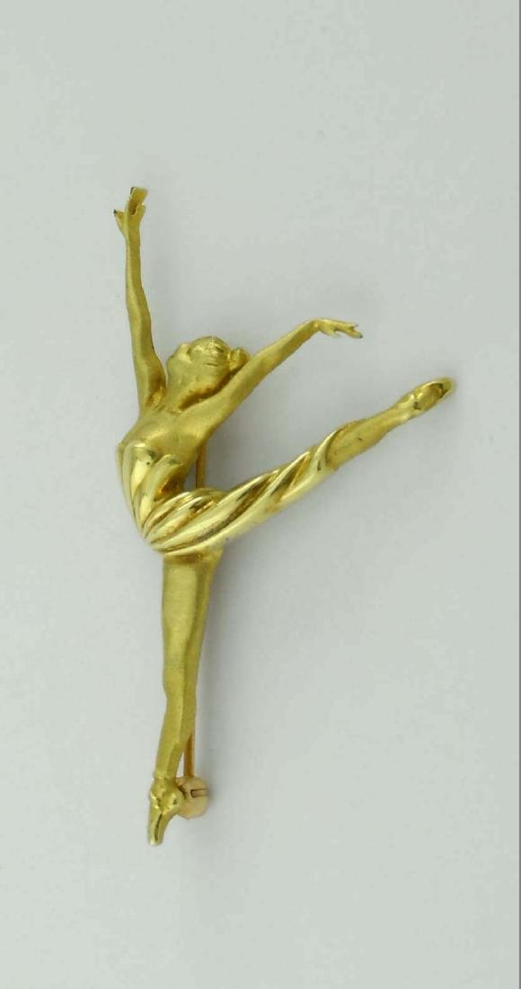 18KT GOLD BALLERINA DANCER BROOCH SATIN POLISHED FINISH - 4