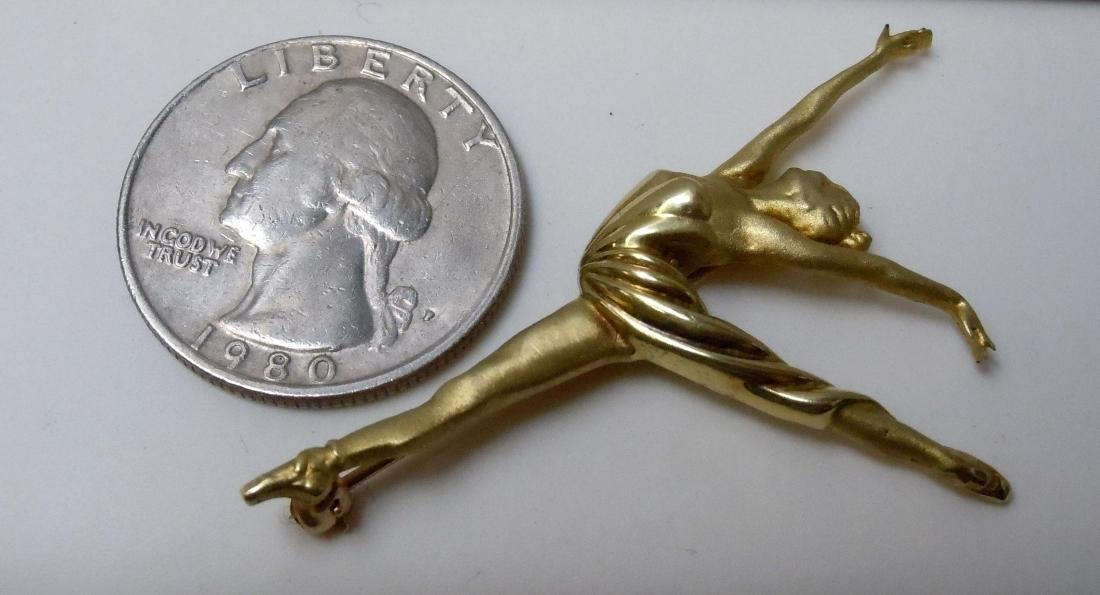 18KT GOLD BALLERINA DANCER BROOCH SATIN POLISHED FINISH - 5