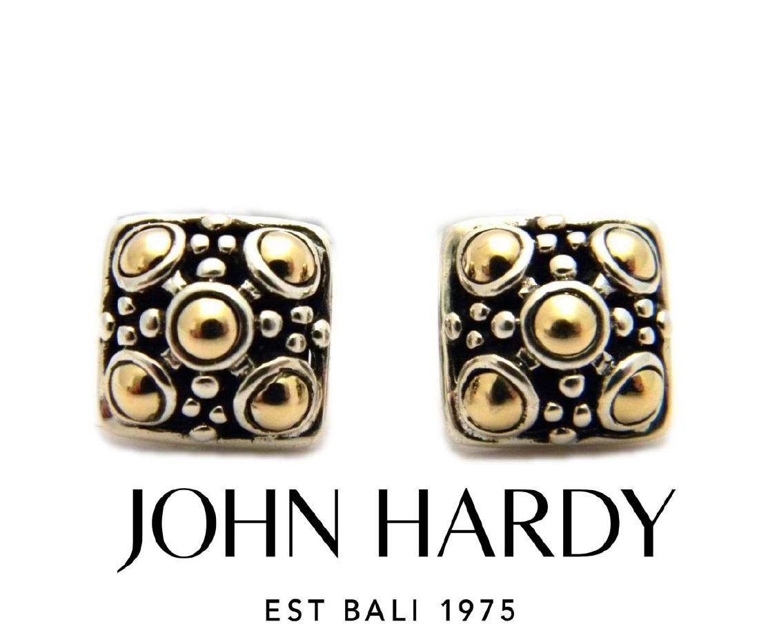 JOHN HARDY 18Kt SILVER SQUARE JAISALMER DOT EARRINGS
