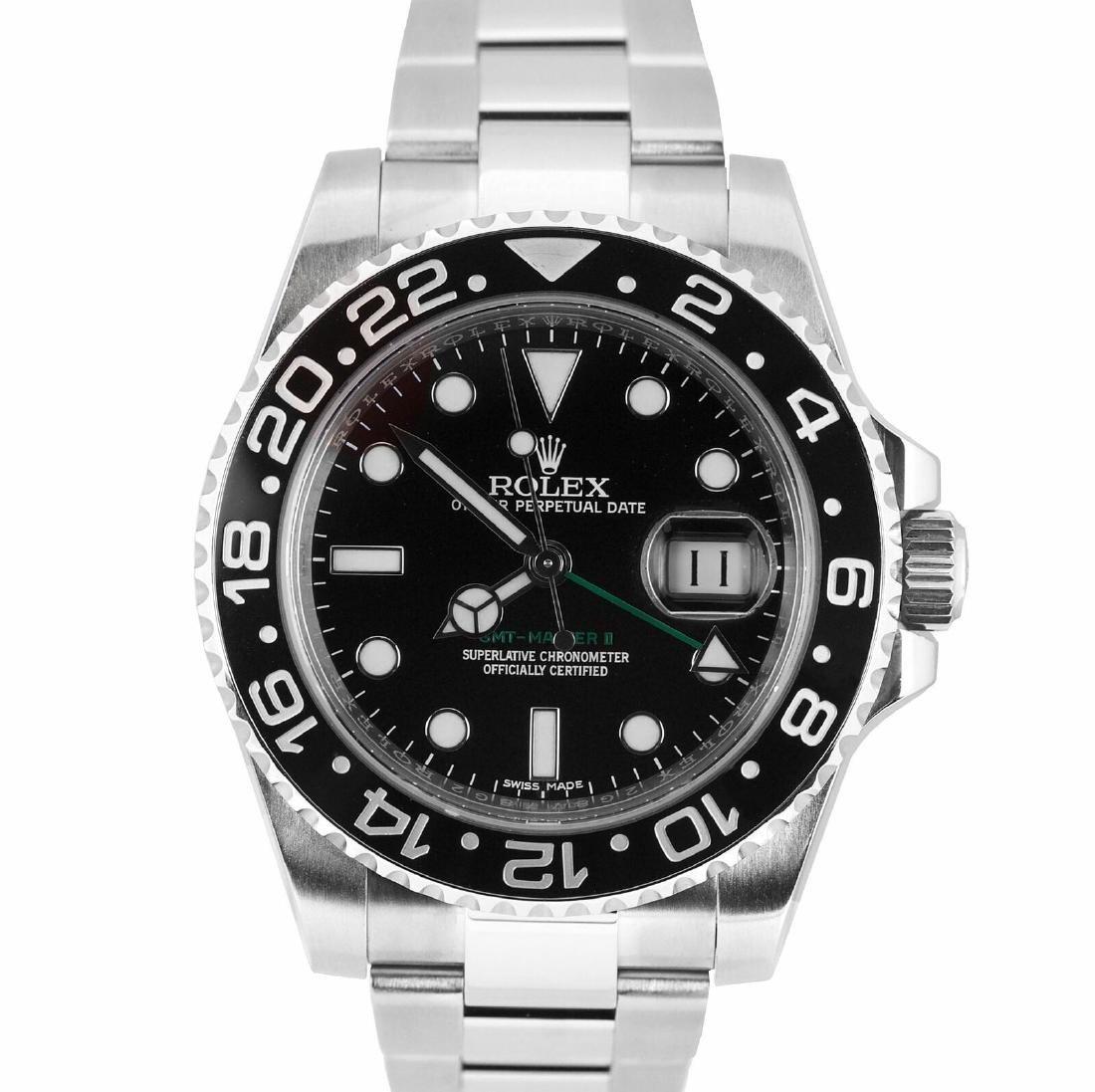 MENS 2010 ROLEX GMT MASTER II BLACK 40MM CERAMIC 116710