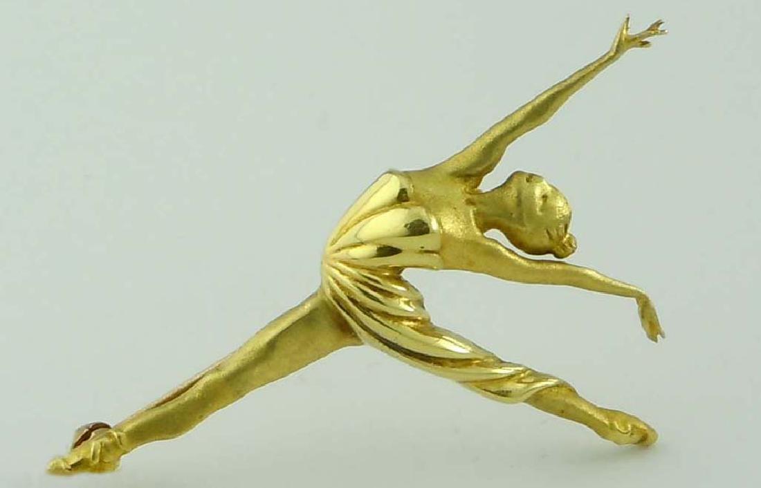 18KT GOLD BALLERINA DANCER BROOCH SATIN POLISHED FINISH