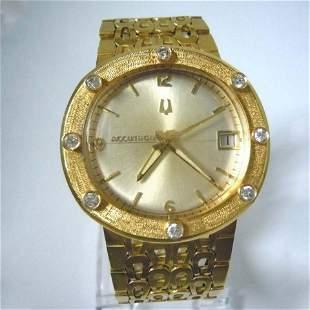 MENS SOLID 18KT GOLD DIAMOND BULOVA ACCUTRON WRISTWATCH