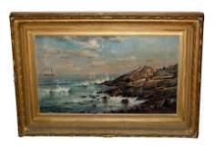 EDMUND DARCH LEWIS 1876 OIL PAINTING WAVES ROCKY COAST