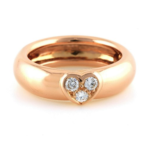 Tiffany 18k Rose Pink Gold 3 Diamond Heart Ring Size 7 Aug 22