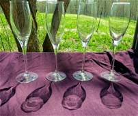 Set CARTIER CRYSTAL CHAMPAGNE FLUTES GLASSES WINE GLASS