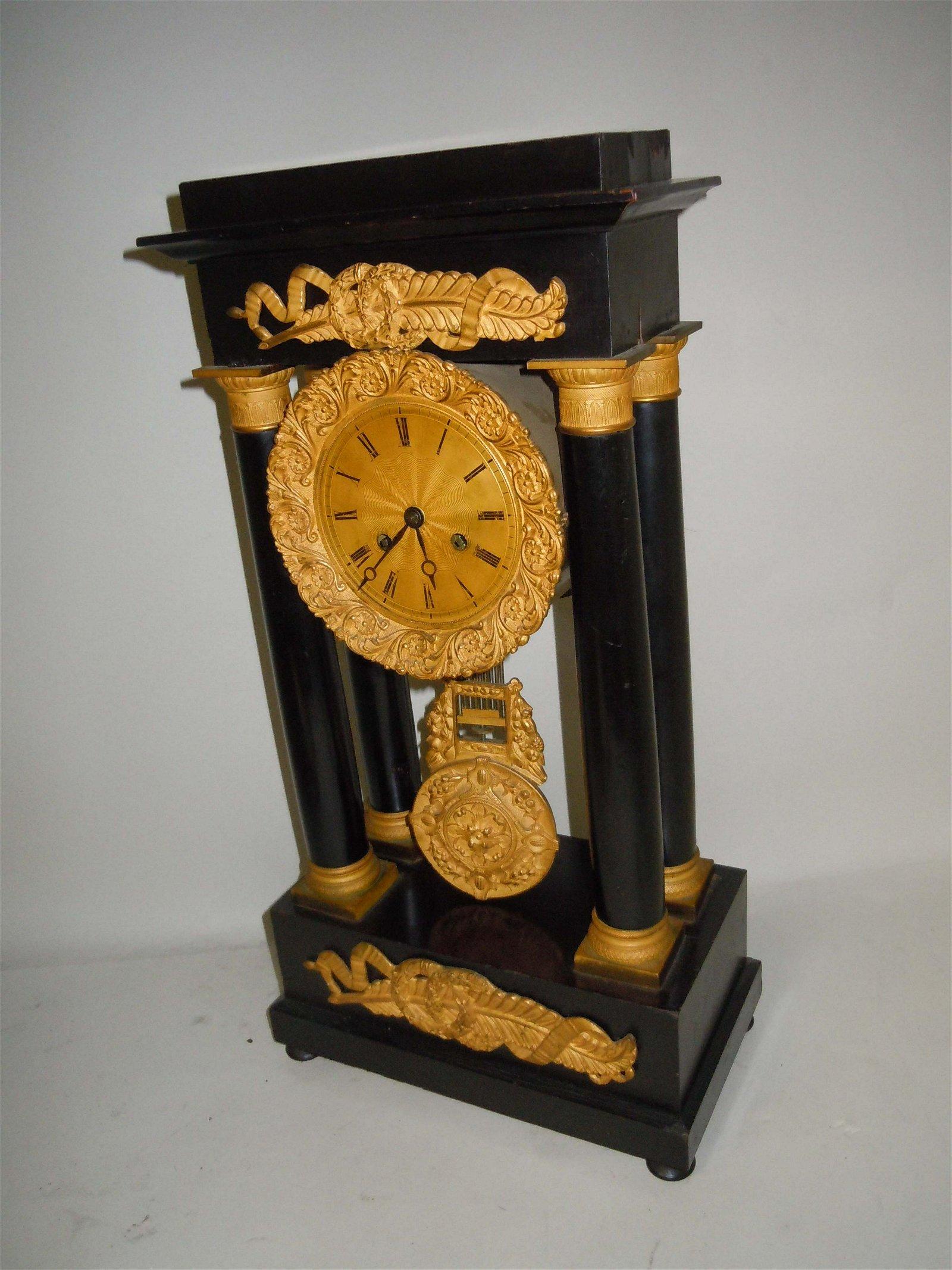 NEOCLASSICAL COLUMN PEDIMENT FRENCH EMPIRE MANTLE CLOCK;