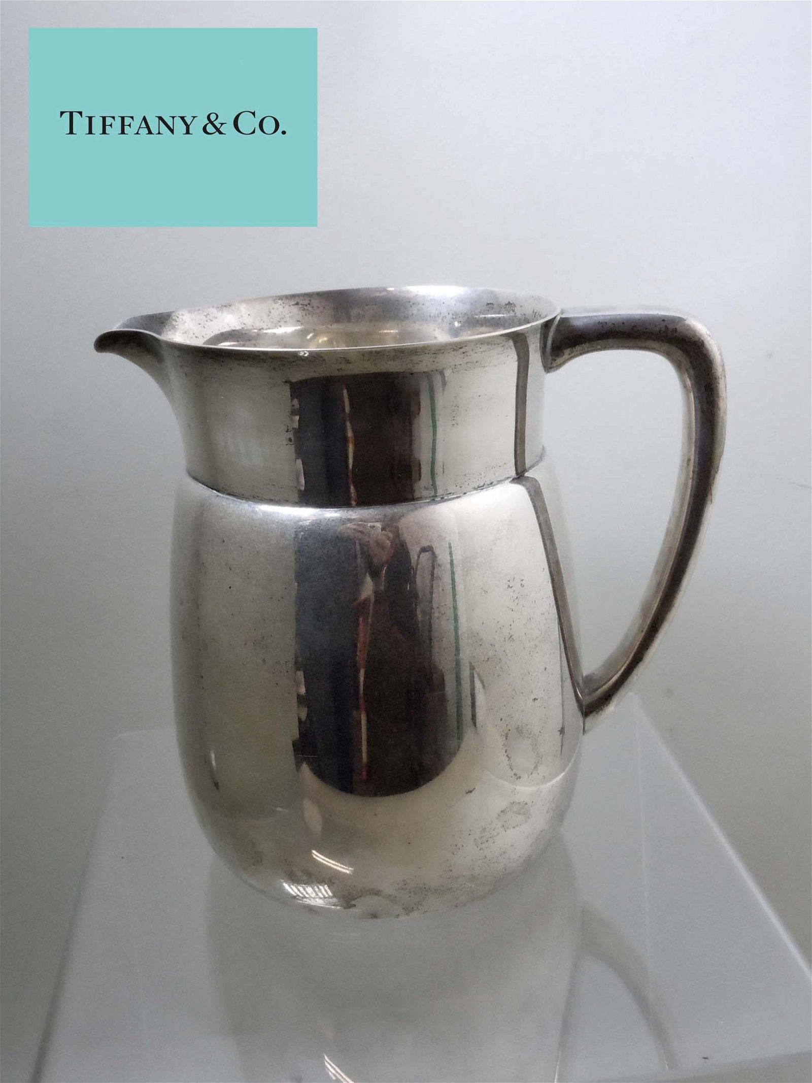 VINTAGE TIFFANY CO MAKERS STERLING SILVER WATER PITCHER