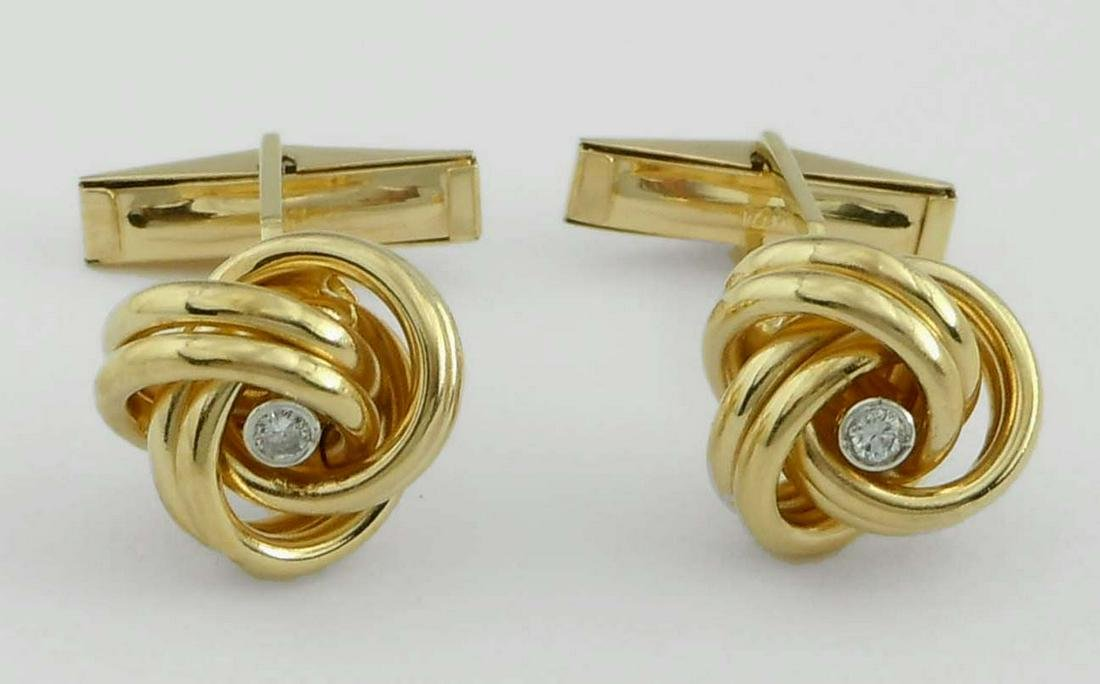 14KT GOLD BEZEL SET DIAMOND LOVE KNOT TWIST CUFFLINKS