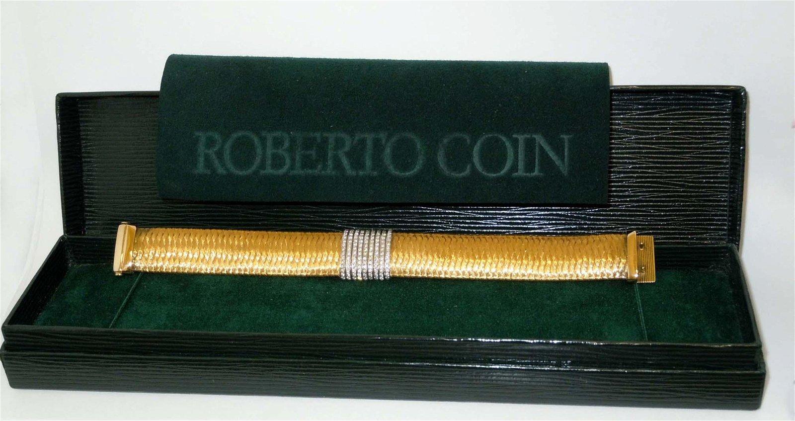ROBERTO COIN 18KT GOLD DIAMOND PRIMAVERA BRACELET w BOX