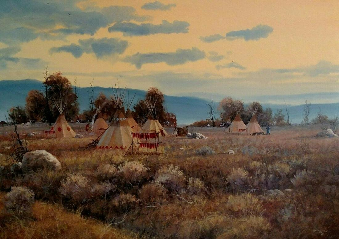 GERRY METZ OIL PAINTING 'MORNIN GLOW' INDIAN ENCAMPMENT