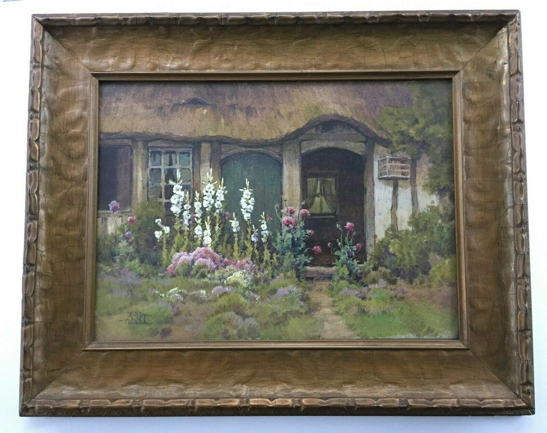 HEZEKIAH A. DYER PAINTING FRENCH COTTAGE w/ HOLLYHOCKS