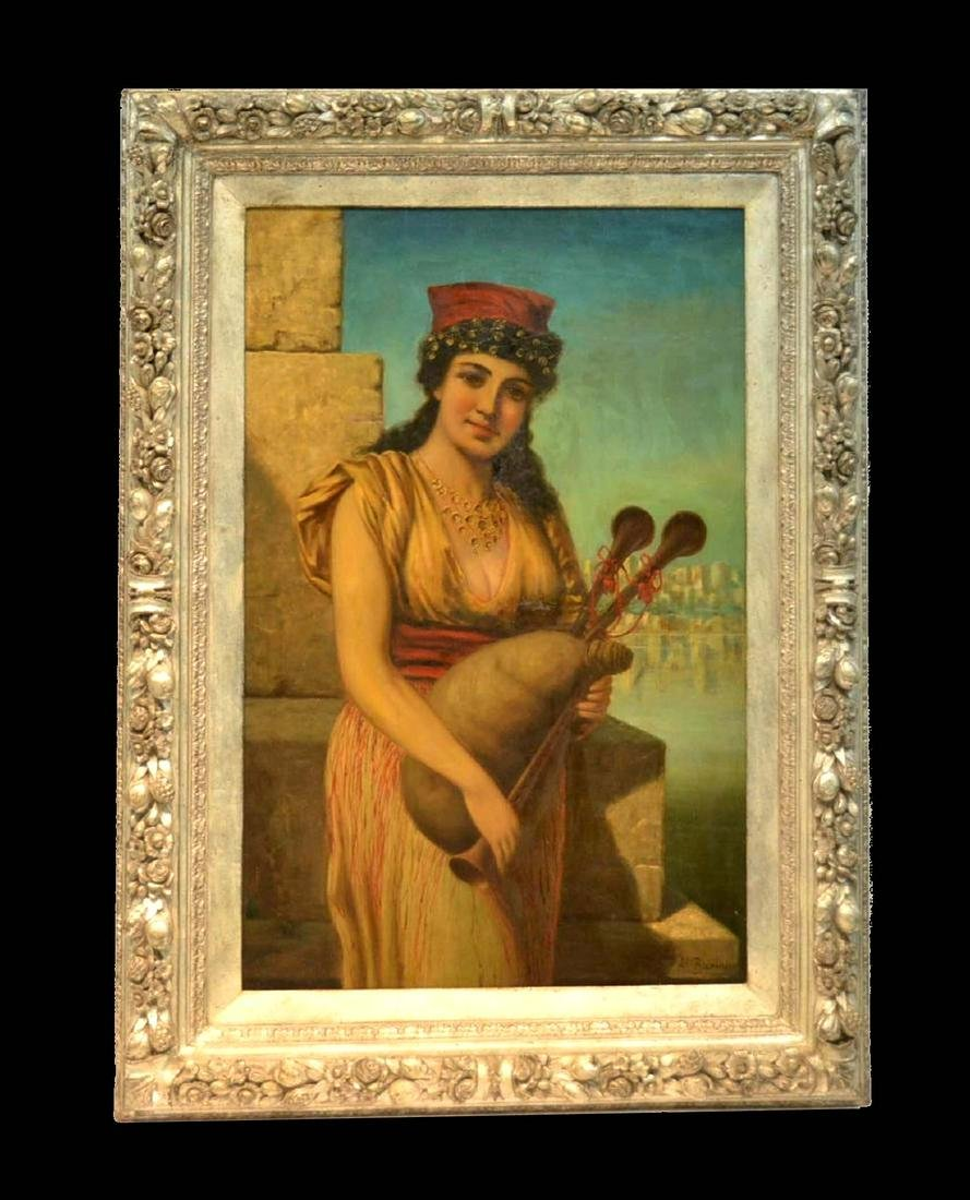 ANTON BRENTANO OIL PAINTING GYPSY GIRL WITH BAGPIPE,
