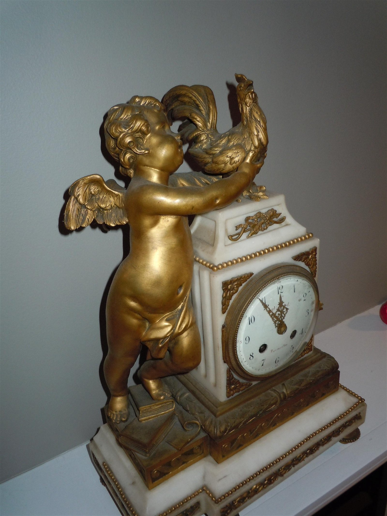 19C FRENCH BRONZE CHIMING MANTLE CLOCK ANGEL W/ ROOSTER