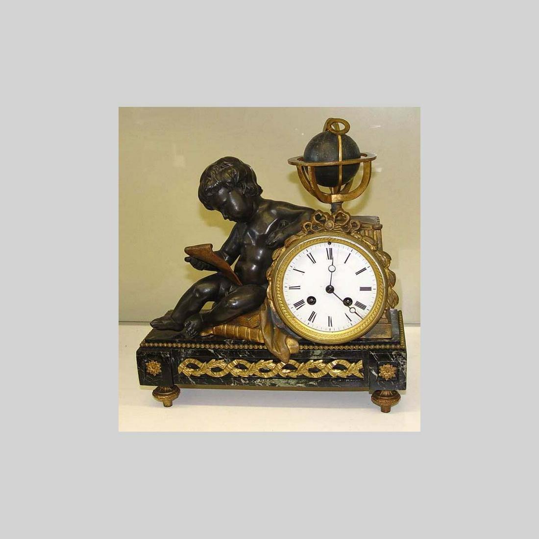 19C FRENCH GILT SPELTER CHERUB ASTRONOMER MANTLE CLOCK