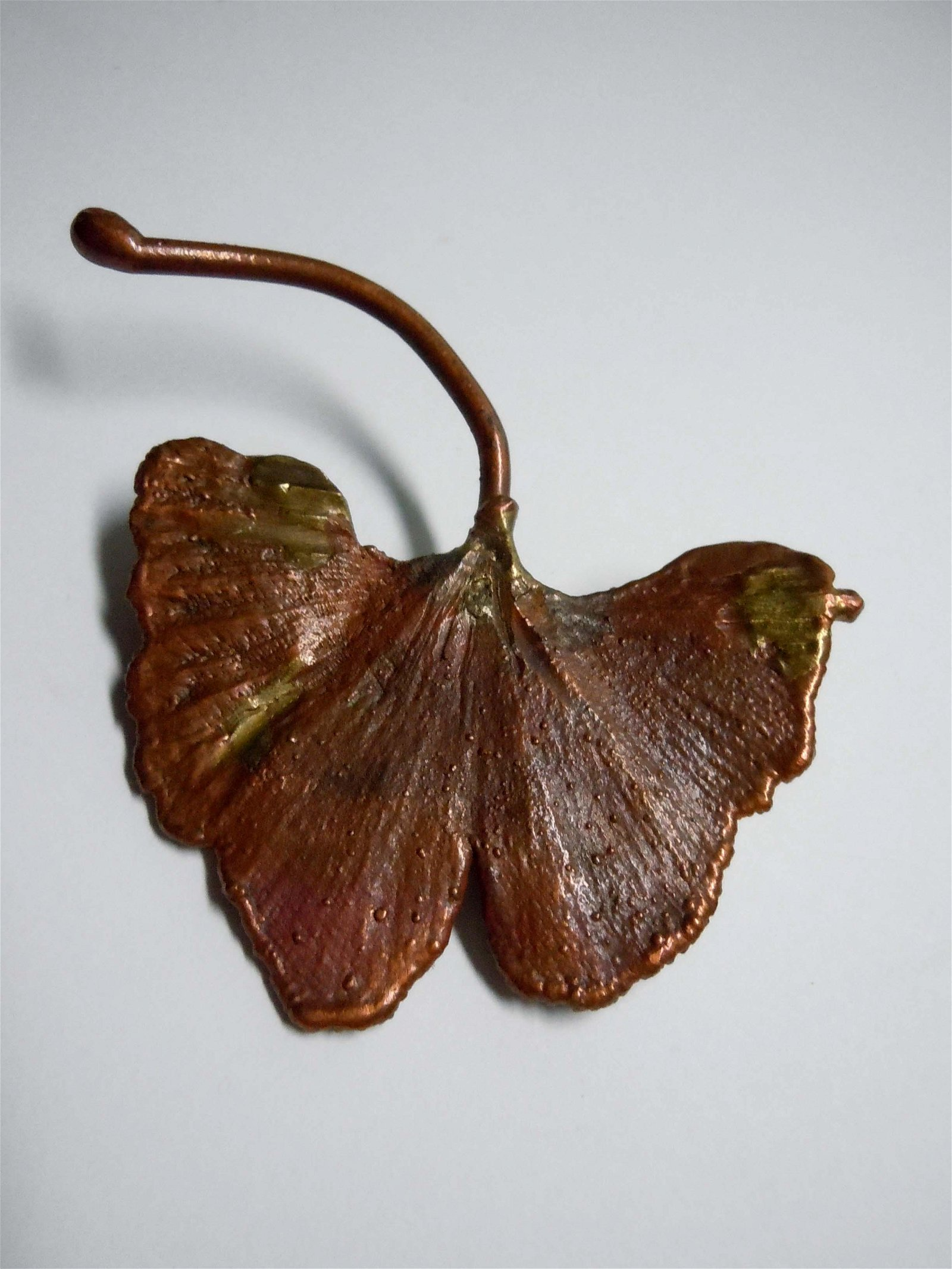 CLAUDE LALANNE GALVANISED COPPER GINKGO LEAF BROOCH PIN