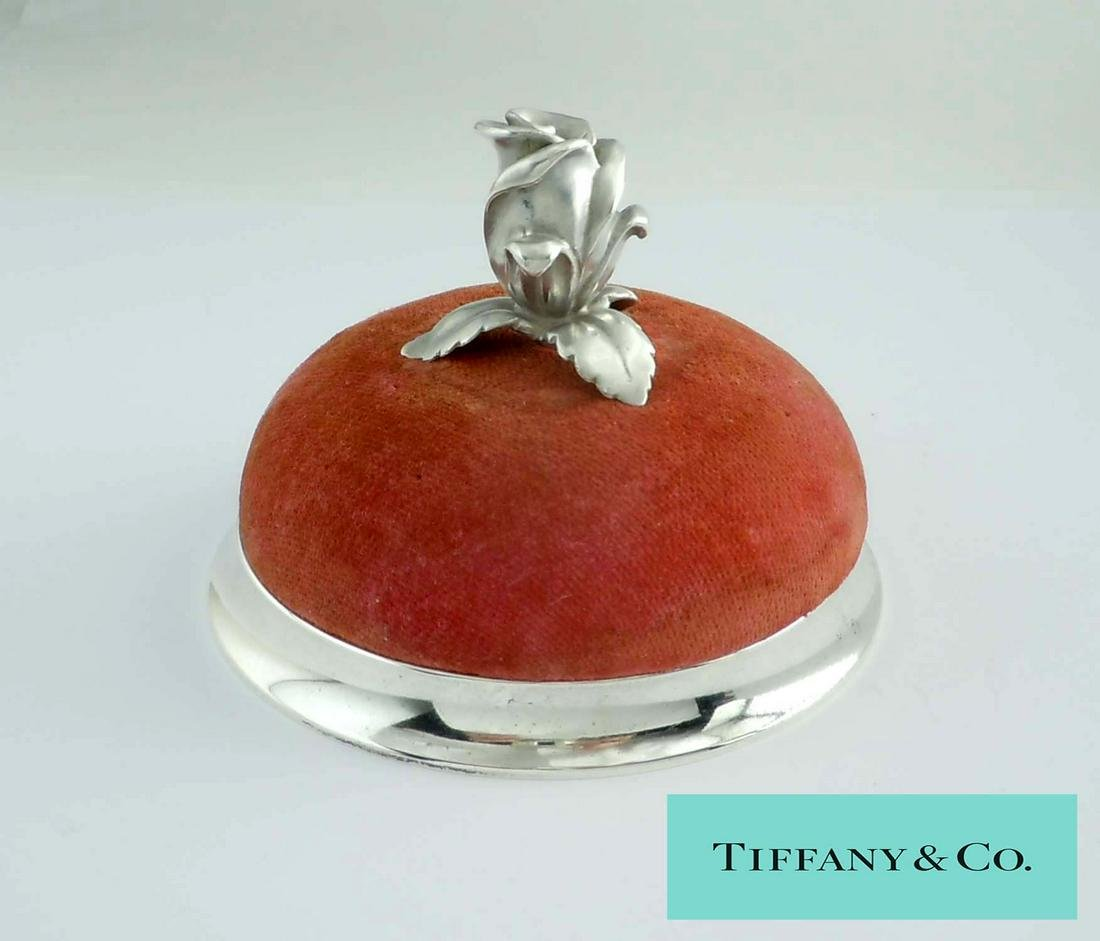 TIFFANY MAKERS STERLING SILVER ROSE FLOWER PINCUSHION