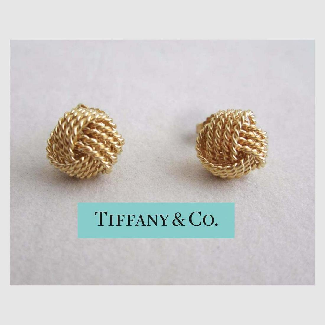 TIFFANY 18KT YELLOW GOLD LOVE KNOT EARRINGS 18KT KNOTS