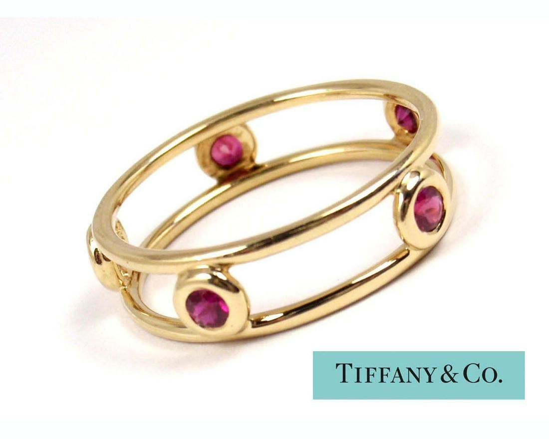 TIFFANY PERETTI 18K GOLD COLOR YARD DOUBLE WIRE RUBY