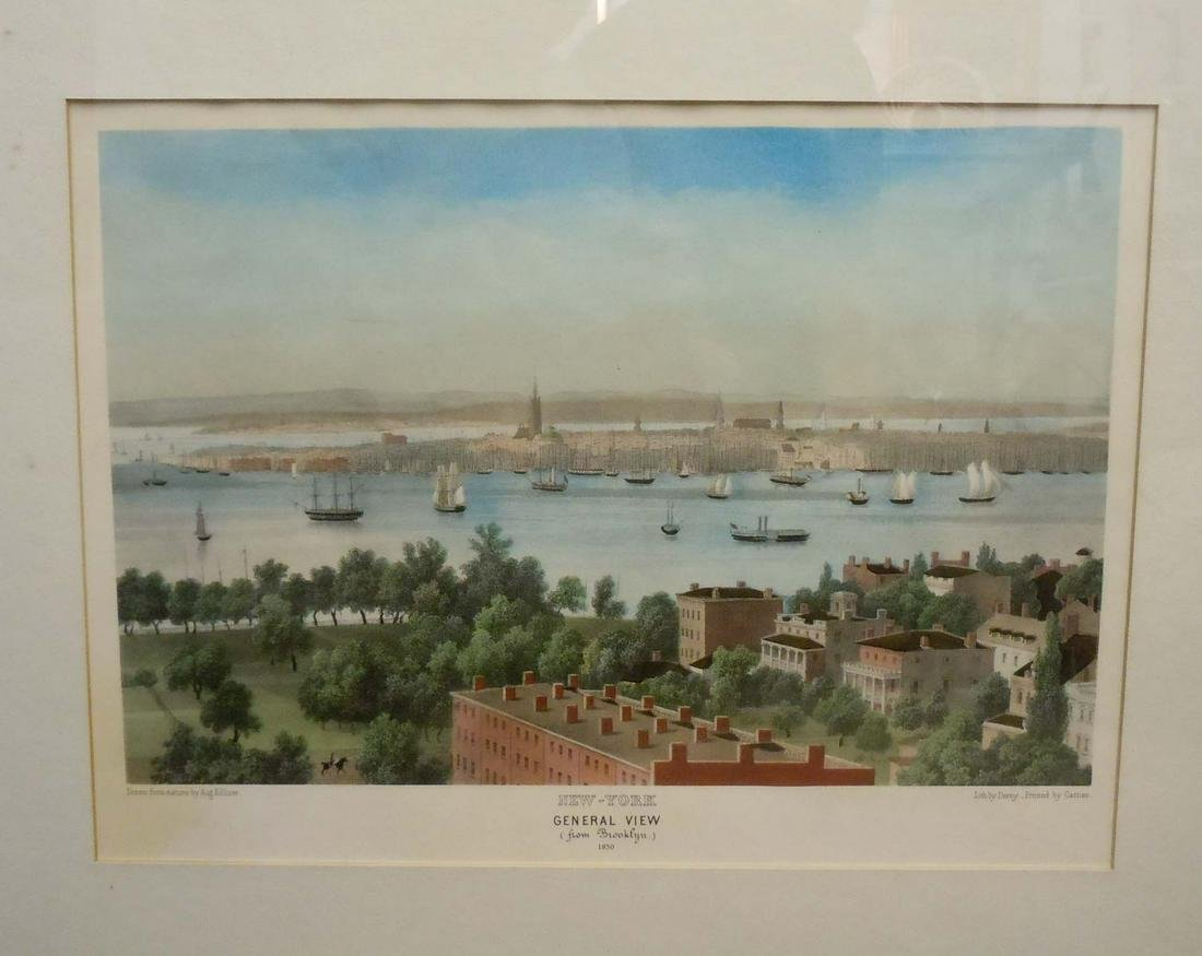 NEW YORK CITY BROOKLYN VIEW 1850 LITHOGRAPH NYC
