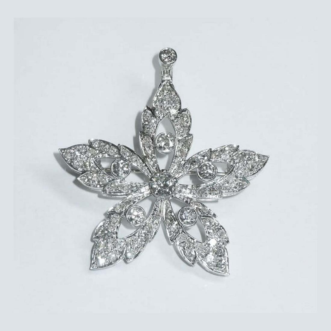 PLATINUM 2ct DIAMOND FLORAL FLOWER PENDANT BROOCH A