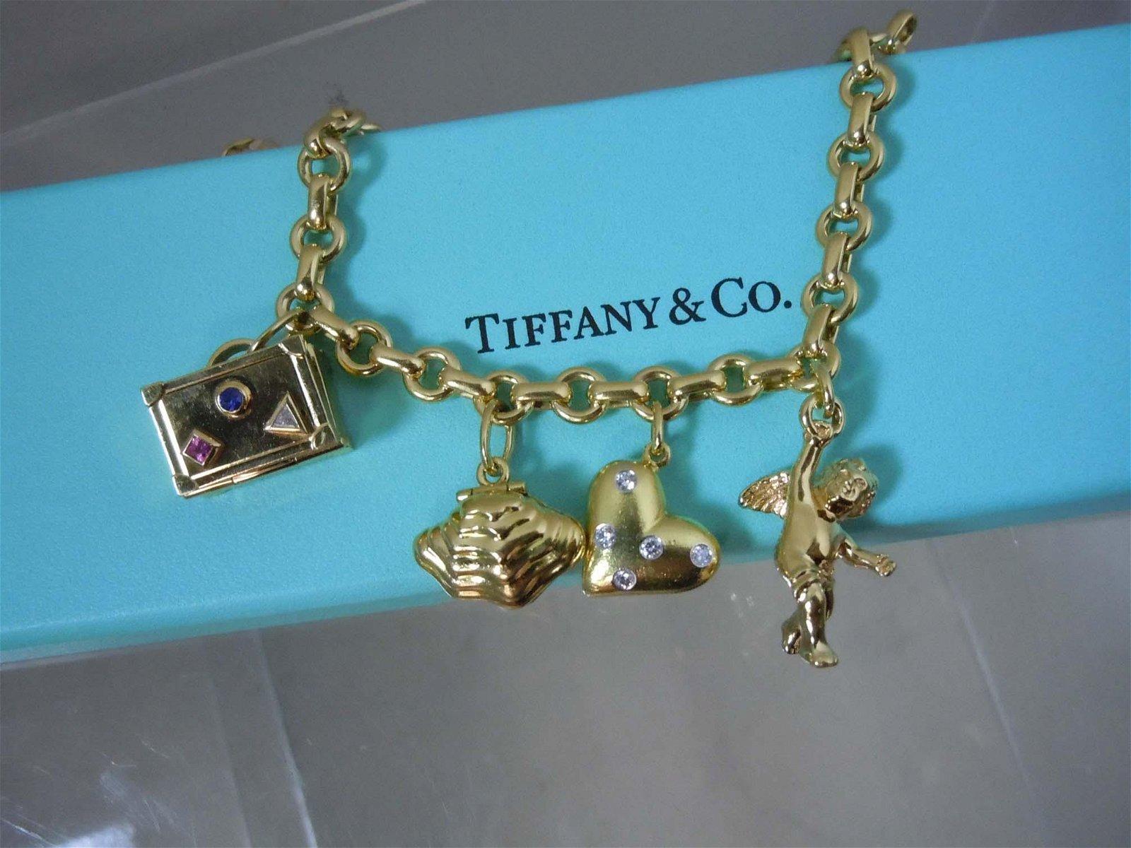 TIFFANY 18KT GOLD CHARM BRACELET - ETOILE DIAMOND HEART