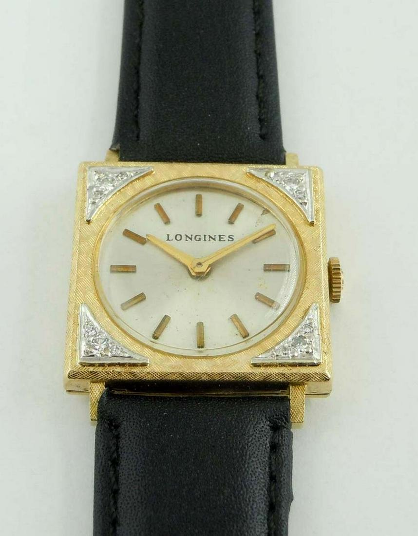 LONGINES GOLD FILLED DIAMOND PICTURE FRAME WATCH SQUARE