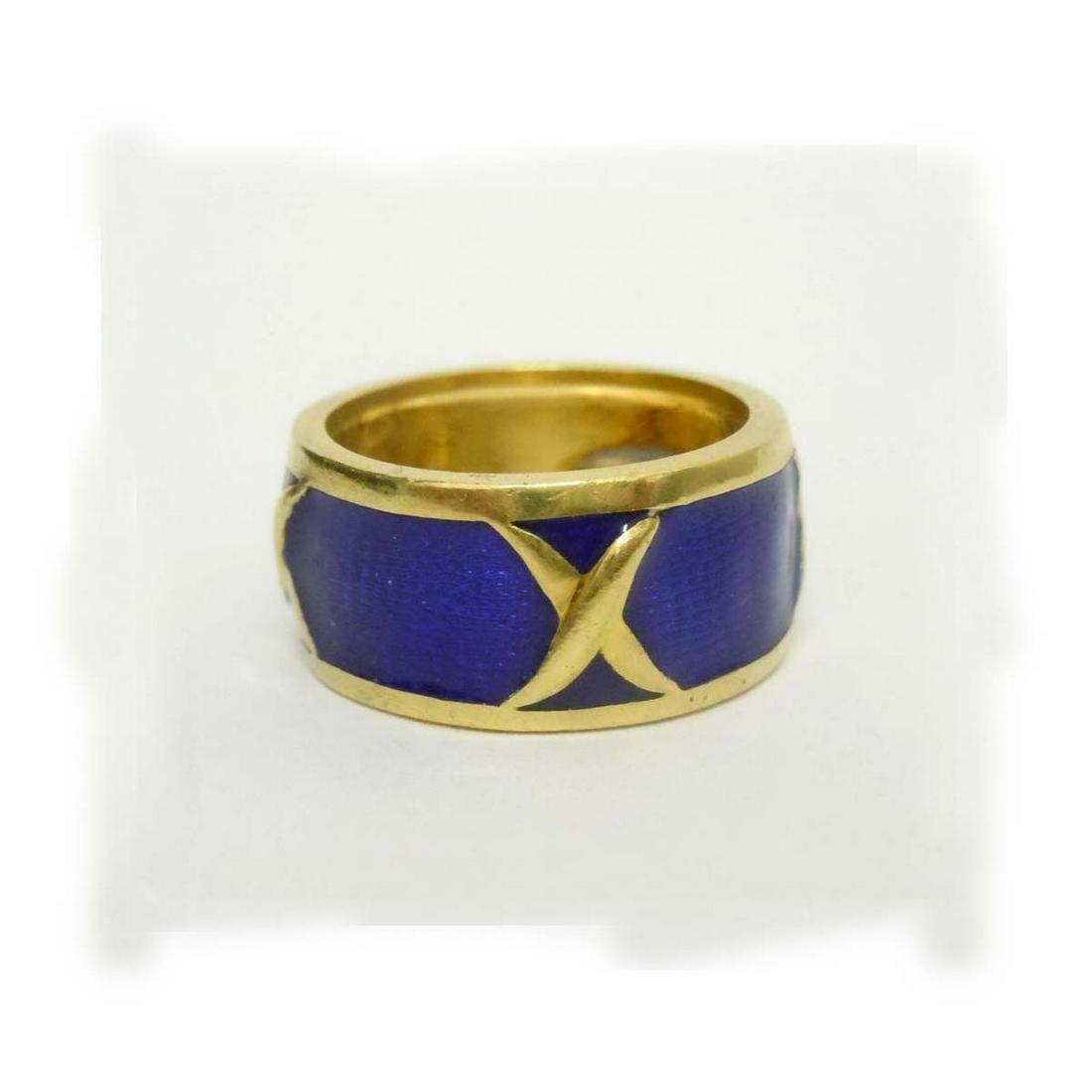 18Kt GOLD BLUE GUILLOCHE ENAMEL X MAVITO DESIGNER RING